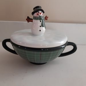 Oneida Double Handled Lidded Fill-A-Bowl Snowman